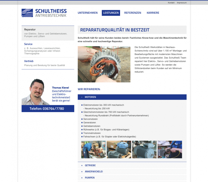 Website - Übersicht mit interaktivem Akkordeon
